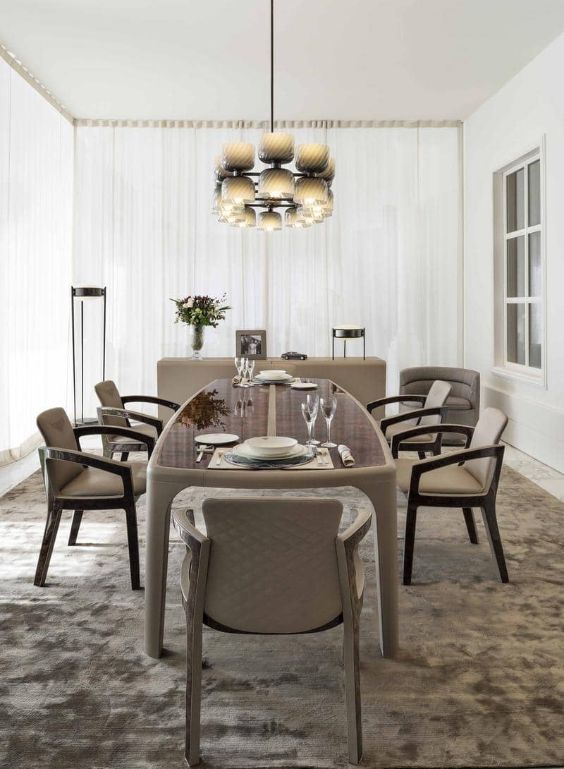 BE Bradley table and Melanie Royce chairs with Talbot chandelier