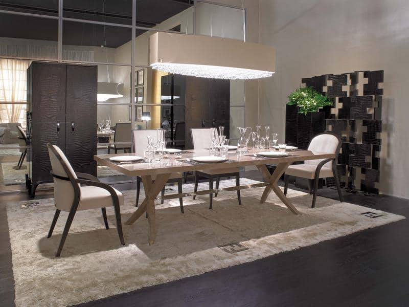 FF BRUNELLO ICE GREY ERABLE DINING TABLE  EPOQUE CHAIRS