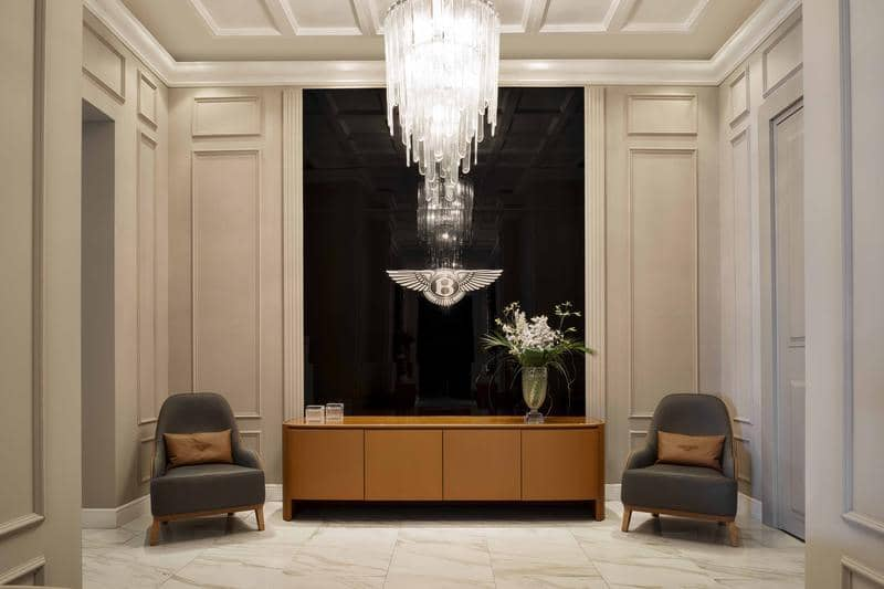 BE Roseberry armchairs_Harold cabinet_Chrystal chandelier